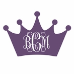 Interlock Princess Crown Monogram Car Decal