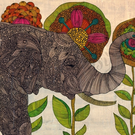 Intricate Elephant in Flower Garden Poster Wall Decal