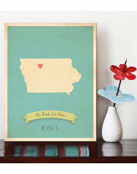 Iowa My Roots State Map Art Print