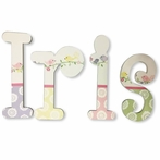 Iris Pastel Birds Hand Painted Wall Letters