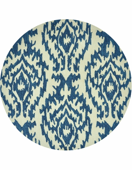 Ivory and Blue Ikat Summerton Rug