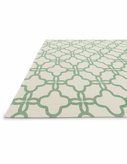 Ivory and Emerald Lattice Geo Rug