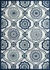 Ivory and Navy Mosaic Rug