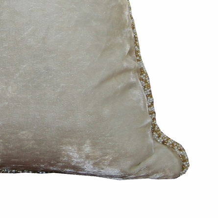 Ivory Chic Velvet Beaded Throw Pillow