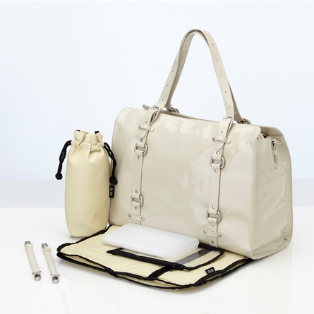 Ivory Patent Leather Tote Diaper Bag