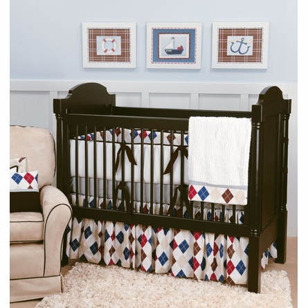 Ivy League Blue Crib Skirt