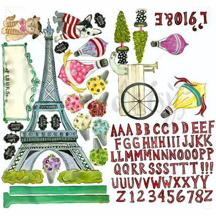 J'aime Paris Peel & Place Wall Stickers
