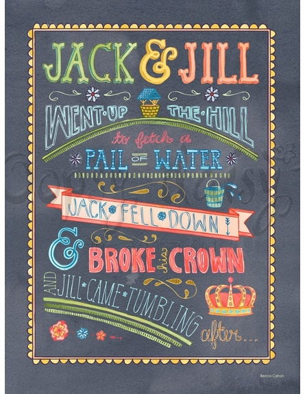 Jack & Jill Went Up The Hill Poster Wall Decal
