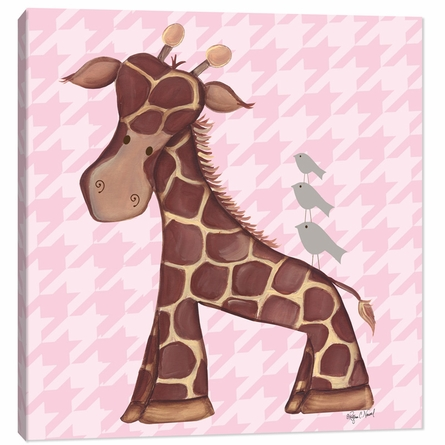 Jackie Giraffe in Pink Canvas Reproduction