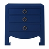 Jacqui 3-Drawer Side Table - Navy Blue