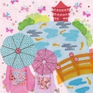 Japanese Garden With Umbrella Girls Canvas Wall Art