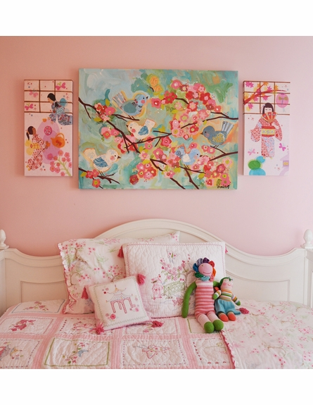 Japanese Lanterns With Fan Girl Canvas Wall Art