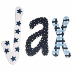 Jax Blue and White Patterns Hand Painted Wall Letters