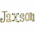 Jaxson Blue and Brown Hand Painted Wall Letters