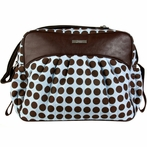 Jazz Diaper Bag in Heavenly Dots Blue and Chocolate