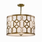 Jennings Three Light Aged Brass Pendant