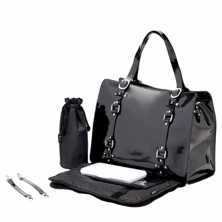 Jet Patent Leather Tote Diaper Bag