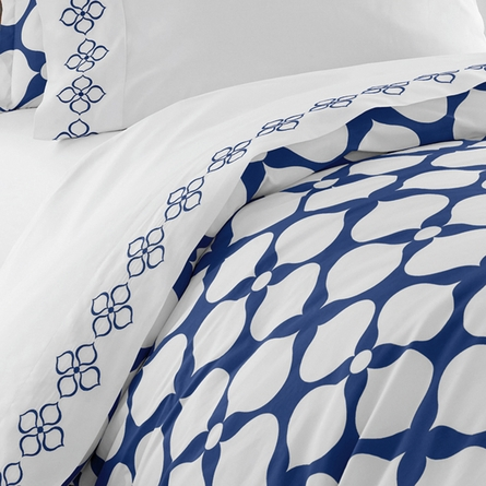 Jonathan Adler Navy Embroidered Hollywood Sheet Set - Queen