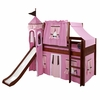 Jordan Low Loft Bed with Hot Pink Castle Tent