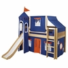 Jordan Low Loft Bed with Navy and Orange Castle Tent