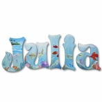 Julia Blue Ocean Hand Painted Wall Letters