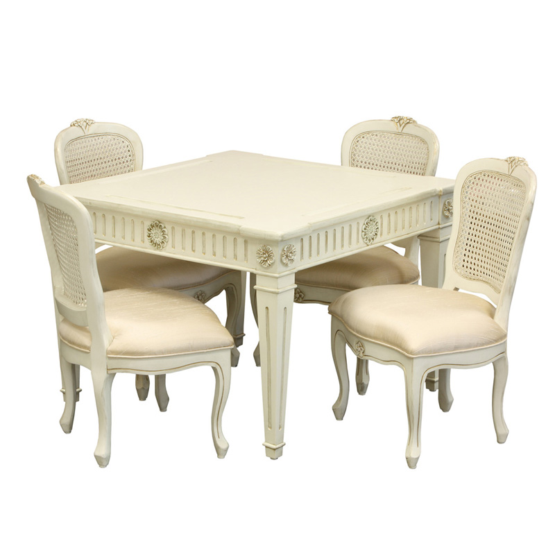 Juliette Play Table and Chair Set in Versailles Linen and Belle Champagne Fabric