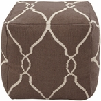 Jumbo Lattice Pouf in Ivory and Chocolate