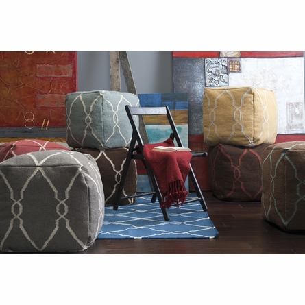 Jumbo Lattice Pouf in Papyrus and Elephant Gray