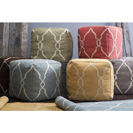 Jumbo Lattice Pouf in Papyrus and Khaki