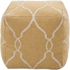 Jumbo Lattice Pouf in Yellow and Ivory