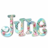 June Aqua Flowers Hand Painted Wall Letters