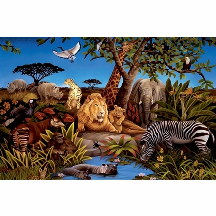 Jungle Animals Chair Rail XL Wall Mural