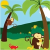Jungle Animals Jamboree II Canvas Reproduction