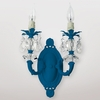 Jupiter Neon Blue Clear Crystal Double Wall Sconce