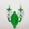 Jupiter Neon Green Clear Crystal Double Wall Sconce