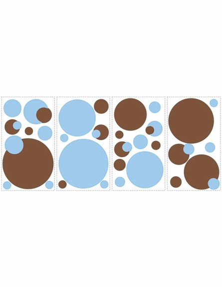Just Dots Blue/Brown Peel & Stick Appliques