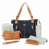 Kate Diaper Bag - Black and Saddle