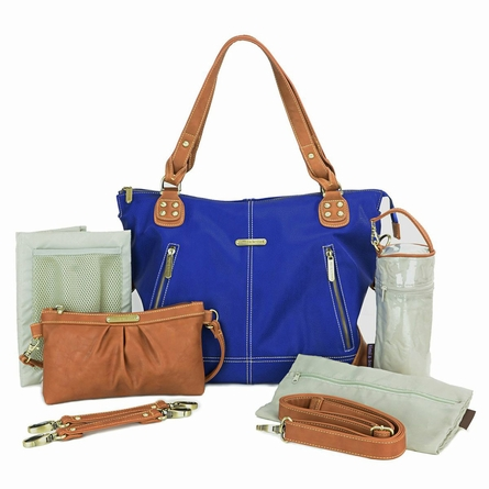 Kate Diaper Bag - Cobalt and Saddle
