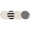 Kate Spade Black and White Raise a Glass Melamine Coaster Set