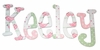 Keeley Pink & Green Birds Hand Painted Wall Letters