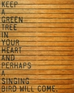 Keep A Green Tree Vintage Slatted Frame Wall Plaque