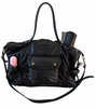 Kelly Leather Diaper Bag - Black Lux