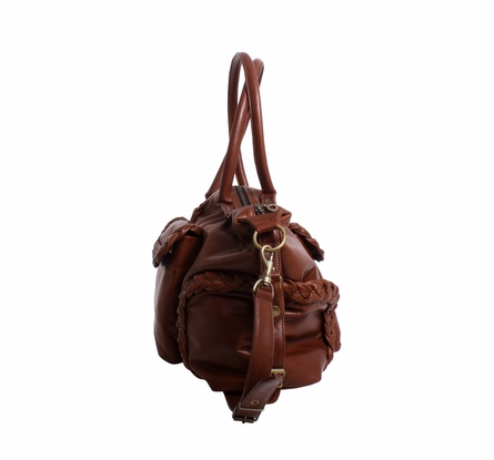 Kelly Leather Diaper Bag - Brandy Rugged
