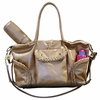 Kelly Leather Diaper Bag - Champagne Distressed