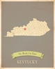 Kentucky My Roots State Map Art Print - Blue