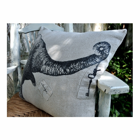 Key and Elephant Linen Pillow