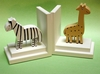 Khaki Giraffe and Zebra Bookends with White Base