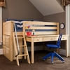 Kicks Low Loft Bed with Large Desk and Cube Unit