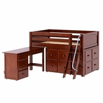 Kicks Low Loft Bed with Student Desk and 2 Cube Units