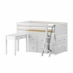 Kicks Low Loft Bed with Study Desk and 2 Cube Units